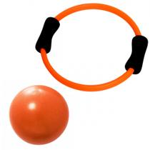 Kit Arco Alaranjado Anel Flexivel para Pilates + Over Ball 25 Cm  Liveup -