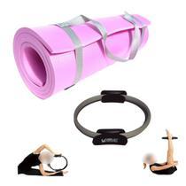 Kit Arco Anel Yoga Pilates + Colchonete em Eva Rosa 1,70m com Alca  Mandiali -