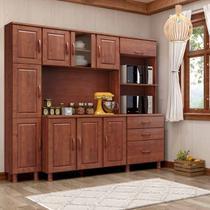 Kit Armário de Cozinha Linha Bronze Imbuia 10 Portas com Paneleiro e Tampo 03 Gavetas Madeira Maciça Pinus - Finestra -