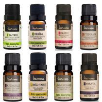 Kit Aromaterapia 8 Óleos Essenciais 100% Naturais Via Aroma 10Ml Linha Nobre -