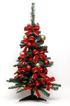 Kit Árvore de Natal Decorada 90Cm 100 Hastes Com 42 Enfeites - Cromus