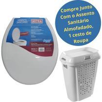 Kit Assento Sanitário Almofadado TPK Branco + Cesto De Roupa ou Organizadora Brinquedos Branca - Astra