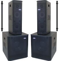 "Kit Ativo (2x6""+ Sub 12"") 4 Caixas P.A. Compacto VL 1800w Easylink vl1800 - Nhl Pro Sound"