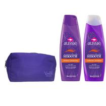 Kit Aussie Miraculously Smooth Shampoo 400ml  + Condicionador 400ml + Necessaire