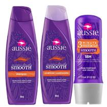 Kit Aussie Miraculously Smooth: Shampoo + Condicionador 180ml + Tratamento Aussie 3 Minute Miracle Smooth Frizz 236ml