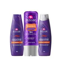 Kit Aussie Miraculously Smooth: Shampoo + Condicionador 180ml + Tratamento Aussie 3 Minute Miracle Smooth Frizz 236ml -