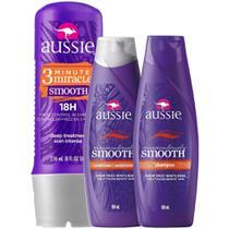 Kit Aussie Miraculously Smooth: Shampoo + Condicionador 180ml + Tratamento Aussie 3 Minute Miracle Smooth Frizz 236ml -