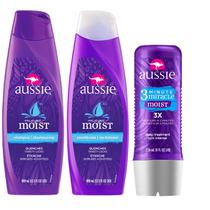 Kit Aussie Moist com Shampoo 400ml + Condicionador 400ml + Tratamento 3 Minutos 236ml