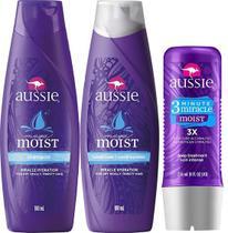 Kit Aussie Moist: Shampoo + Condicionador 180ml + Tratamento 3 Minutos 236ml -