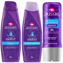 Kit Aussie Moist: Shampoo + Condicionador 180ml + Tratamento 3 Minutos 236ml
