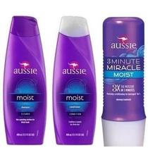 Kit aussie - shampoo 400ml +condicionador + 3 minute miracle -