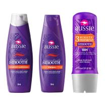 Kit Aussie Smooth 360ml+ Condicionador 360ml + Tratamento Aussie 3 Minute Miracle Smooth Frizz Control 236ml