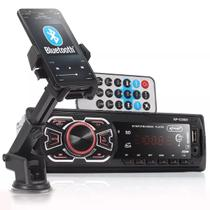 Kit Auto Radio Bluetooth Mp3 Carro Suporte Veicular Celular - Knup