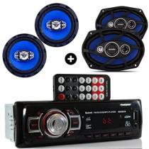 Kit Auto Radio Mp3 Bluetooth + Falante 6 + Falante 6x9 Pol - Orion