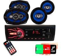 Kit Auto Radio Mp3 Bluetooth Par Falante 6 Par Falante 6x9 - First Option
