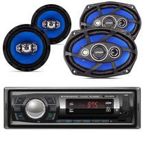 Kit Auto Rádio Roadstar Bluetooth + 6x9 E Falante 6 Pol 220w -