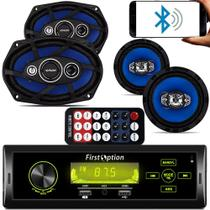 Kit Auto Radio Touch Mp3 Bluetooth + Falante 6 + 6x9 Pol + Antena - Fistoption