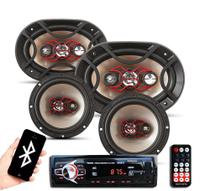 """Kit Automotivo Player Mp3 Bluetooth + Par Falante Bravox 6"""" + Par 6X9 - Kit Fácil -"""