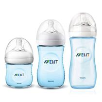Kit Avent Petala 3 Mamadeiras Azul 125 260 330ml - Philips avent