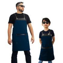 Kit Avental família bistrô hamburgueria azul - Lady-Iv