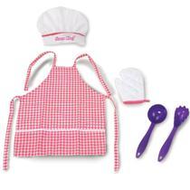 Kit Avental Xadrez Rosa Touca Gran Chef - Nig 611 - Nig Brinquedos