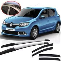 Kit Aventura Renault Sandero 2012 13 14 15 16 17 18 19 com Longarina Decorativa e Calha de Chuva Esportiva Fumê - Tg Poli