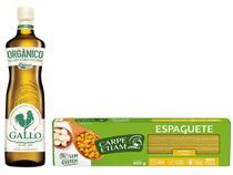 Kit Azeite de Oliva Extravirgem Orgânico Gallo - 500ml + Macarrão Espaguete Vegano sem Glúten