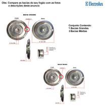 Kit bacias em alumínio p/ fogões electrolux 4 bocas 52 smb -