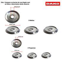 Kit bacias em aluminio para fogões dako accord 6 bocas -