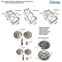 Kit bacias + grelhas p/ fogões tripla chama electrolux 5 bocas 76 usq -