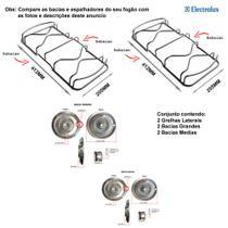 Kit bacias + grelhas para fogões electrolux 4 bocas 52 sxc -