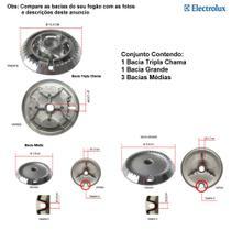 Kit bacias para fogões tripla chama electrolux 5 bocas 76 srb -