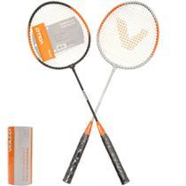 Kit badminton 2 raquetes 2 petecas vollo -