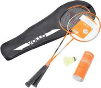 Kit Badminton com 2 Raquetes e 3 Petecas de Nylon - VOLLO VB002 -