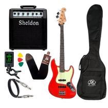 Kit Baixo Sx Jazz Bass 4 Cordas Sjb62 Vermelho Cubo Sheldon -