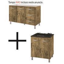 Kit Balcão Gabinete Pia Cozinha 120cm Camile Castanho/Castanho + Balcão para Cooktop 5 Bc Castanho/Castanho - Móblis