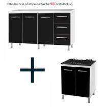 Kit Balcão Gabinete Pia Cozinha 160cm Angelis Branco Portas Pretas + Balcão para Cooktop 5 Bc Branco/Preto - Móblis