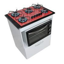 Kit Balcão Salvia Branco Com Cooktop Vermelho 5 Bocas e Forno Elétrico 48L Plus - Chamalux