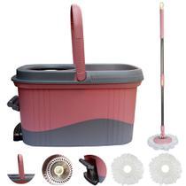 Kit Balde Spin Mop 360 cesto Inox Com Pedal Aluminio super resistente + 2 refis Tssaper SP-512PK -