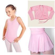 Kit ballet infantil - collant regata, saia ajustável e casaquinho - Maria Catarina Ballet