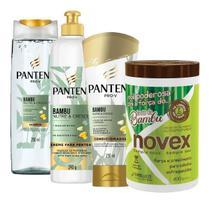 Kit bambu nutre e cresce + fortalecimento - pantene & novex - 04 itens -