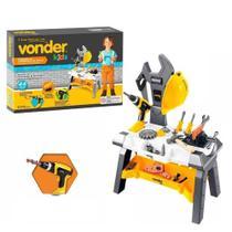 Kit bancada com ferramentas de brinquedo vonder 44 peças -