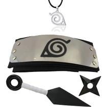 kit Bandana Naruto aldeia da folha, Kunai,  Shuriken  e Colar Ajustável símbolo da aldeia da folha - Super size figure collection