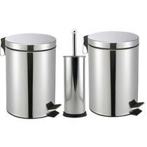 Kit banheiro 02 lixeira inox 5 lt 01 escova sanitaria - Utilidades
