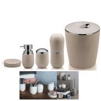 Kit Banheiro Belly Porta Escova + Dispenser + Suporte Algodão + Saboneteira + Lixeira - Ou -