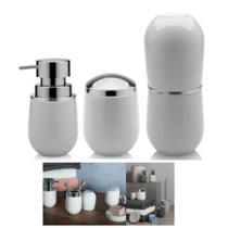Kit Banheiro Belly Porta Escova + Suporte Algodão +  Dispenser Sabonete - Ou -