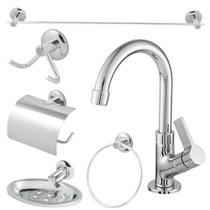 kit banheiro completo com torneira 1/4 de volta bica móvel - Oliveira