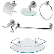 Kit Banheiro Inox Com Porta Shampoo de Canto Linha Extra Luxo - Kit Bras