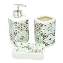 Kit Banheiro Lavabo 3 Peças Porcelana Azulejo Portugues - Amigold