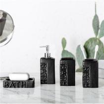 Kit Banheiro Lavabo 4 Peças Porta Sab Liquído Escova Black - Vacheron